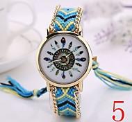 2015  Women Watches Gold Wristwatch Ladies Quartz Watches Geneva Handmade Weave Braided     Bracelet XR1235