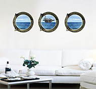 3 Pcs Ocean Aircraft Carrier Window PVC Wall Sticker Wall Decals
