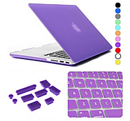 3 in 1 Matte Case with Keyboard Cover and Silicone Dust Plug for Macbook Air 13.3 inch (Assorted Colors)