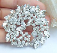 Wedding 2.17 Inch Silver-tone Clear Rhinestone Crystal Flower Bridal Brooch Pendant