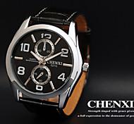 CHENXI® Men's Dress Watch Racing Design Black Leather Strap