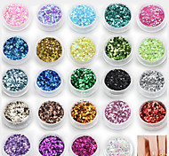 24Pcs 24Colors Mixed Color Hexagon Glitter Laser Powder Nail Art Decoration