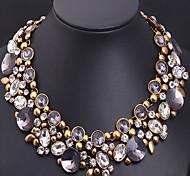 MPL Retro luxury full diamond crystal gem flower short chain clavicleImitation Diamond Birthstone