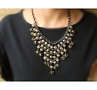 Fashion Elegant Black Zink Alloy With Antificial Crystals Necklace Free Shipping