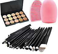 Pro 20pcs Brushes Set Powder Foundation Eyeshadow Eyeliner Lip Brush Tool+15Colors Concealer+1PCS Brush Cleaning Tool