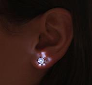 (3pcs) High Quality Creative Fashion LED Lights Glowing Han Edition Earrings Sweet Zirconium Drill (Color random)