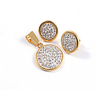 Fashion Square Full CZ Diamonds Inlaid 316L Stainless Steel Gold Plated (Necklace&Earrings) Jewelry Sets