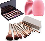 12Pcs Cosmetic Makeup Tool Blush Foundation Brush Set Box +28Colors Matt Eyeshadow Palette+1PCS Brush Cleaning Tool