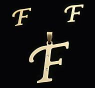 letra f moda europea y americana a las letras colgante y oído espárragos set (sin collar)