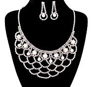 Fashion Long Drop Fully Rhinestone Silver Copper Jewelry Set 22