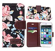 motif de fleur fentes pour cartes pu étui en cuir flip horizontal pour iPad iPhone 6 (couleurs assorties)