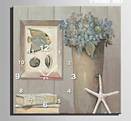 pescado estilo moderno reloj de pared floral en lona