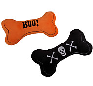Halloween Pets Gift with Bone Shape Stuffed Plush Squeaking Pet Toy for Dogs & Cats (Assorted Colors)