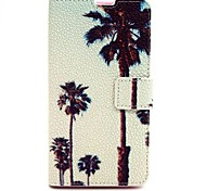 Coconut Tree Pattern PU Leather Material Card Full Body Case for Nokia 640