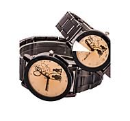 Couple's Round Dial Case Alloy Watch Brand Fashion Quartz Watch(2pcs)