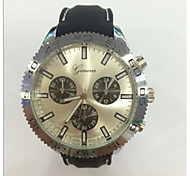 style militaire boîtier noir montre-bracelet à quartz bande de caoutchouc pour hommes