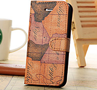 World Map Pattern Leather Case with Holder and Card Slots, Random Delivery for iPhone5C