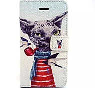 Pipe Dog Pattern PU Leather Material Card Full Body Case for iPhone 5C