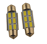 2PCS Carking™  Festoon 36MM/39MM 1.2W 6*5630SMD 140ML 6000K White Light LED Rome Lamp(DC 12V)