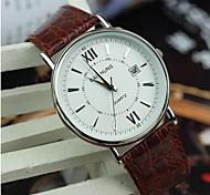 Herren-römischen Kalender braunen Gürtel Uhr