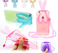 Hang Rope Rabbit Ear Scaffold Silicone Back Case for iPhone 6S Plus/6 Plus(Assorted Colors)