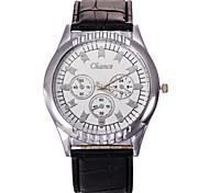 escala del reloj de manera de los hombres reloj de cuarzo atmosférica correa de cuero de la PU de la moda clásica