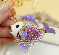 Cute Rhinestone Fish Shaped Keychain(Random Color)