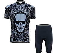 FINEOU Men's Short Sleeve Outdoor Sports Cycling Suits Shorts Breathable/Quick Dry/Front Zipper/Back Pocket/3D Pad