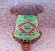 Dog Sweater Green Dog Clothes Winter Geometic