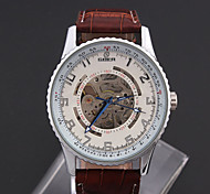 Men'S Watch High Quality Large Dial Hollow Automatic Mechanical Leather Watch