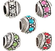 Beads DIY moda strass forma redonda grânulos grande buraco 5pcs