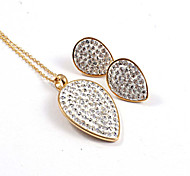 Fashion Full CZ Diamonds Inlaid 316L Stainless Steel Gold Plated (Necklace&Earrings) Jewelry Sets