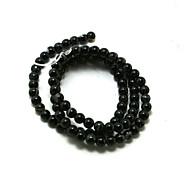 beadia 39cm / str (ca. 95pcs) natürliche Achat Perlen 4mm lang gefärbt schwarze Farbe lose Steinkorne DIY Zubehör