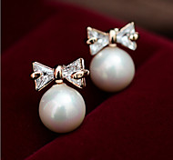 New Arrival Fashional Zircon Bow Pearl Earrings