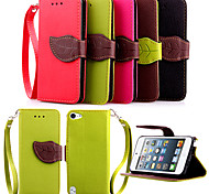 High Quality Wallet Card Holder PU Leather Flip Case Cover for iPod Touch 5(Assorted Colors)