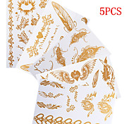 5PCS Necklace Bracelet Temporary Tattoos Sticker Gold Tattoos Flash Tattoos Party Tattoos Mixed Patterns