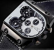 Men's Military Watch Multi Time Zones Design Black Leather Strap