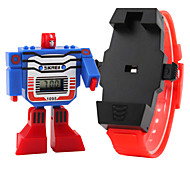 Kid's Digital Toy Watch Assembly Transformer Robot Style Wristwatch
