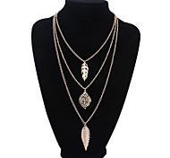 Vintage Casual European Style Fashion Multilayer Leaves Alloy Layered Necklace