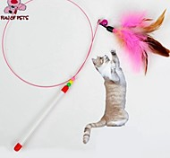 Cat Toy Pet Toys Teaser Feather Toy Bell Pink Textile