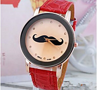 Ladies watch detonation ] British wind moustache red strap watch Quartz watch personality