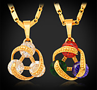 U7® Girl's Multicolor/Clear Cubic Zirconia Pendant Necklace 18K Real Gold Plated Luxurious Jewelry CZ Necklace