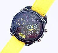 Unisex Fashion Dual Time Display PU Band Quartz Wrist Watch
