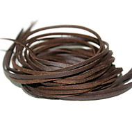 Beadia 10 Pcs DIY Accessories 3mm (100cm Length) Brown Flat Faux Suede Leather Cord Lace String