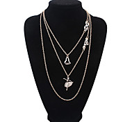 Multilayer Fashion Dancing Girl Heart Pendant Necklace