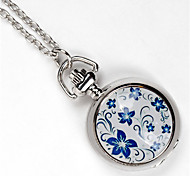 Classic Roud Shaped Alloy Silver Lotus Pocket Watch(Silver)(1Pc) Cool Watches Unique Watches