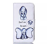 Two Dumbo Pattern PU Leather Painted Phone Case For iPhone 4/4S