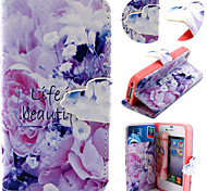 Purple Flower Pattern with Card Bag Full Body Case for iPhone 4/4S