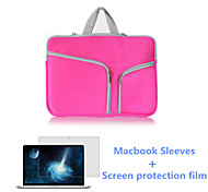 Zipper Closure Flap Laptop Sleeve Bag and HD Screen Flim for New Macbook Retina 12 inch (Assorted Colors)
