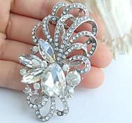 Wedding 2.56 Inch Silver-tone Clear Rhinestone Crystal Flower Bridal Brooch Pendant Wedding Deco